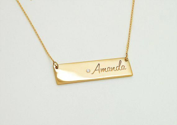 Personalized Bar Necklace 14k Gold Birthstone Name Plate Etsy Real Gold Necklace Bar Necklace Personalized 14k Gold Bar Necklace