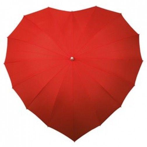 Hartvormige rode paraplu