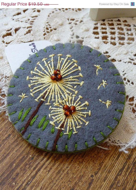 Dandelion inspired handmade felt brooch