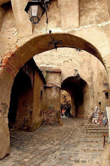 Romania Travel Inspiration - Back alley in Sibiu Old-Town, Romania