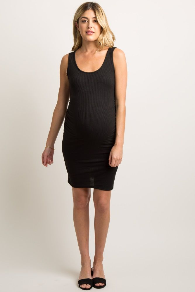 d6a02b799c940 Black Sleeveless Ribbed Fitted Maternity Dress | Pregnancy style ...