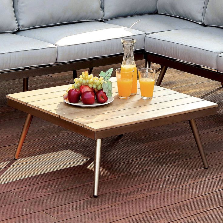 Furniture of America Yulee Contemporary Outdoor Plank Style Brushed Champagne Coffee Table (Brushed Champagne), Brown, Patio Furniture (Aluminum)