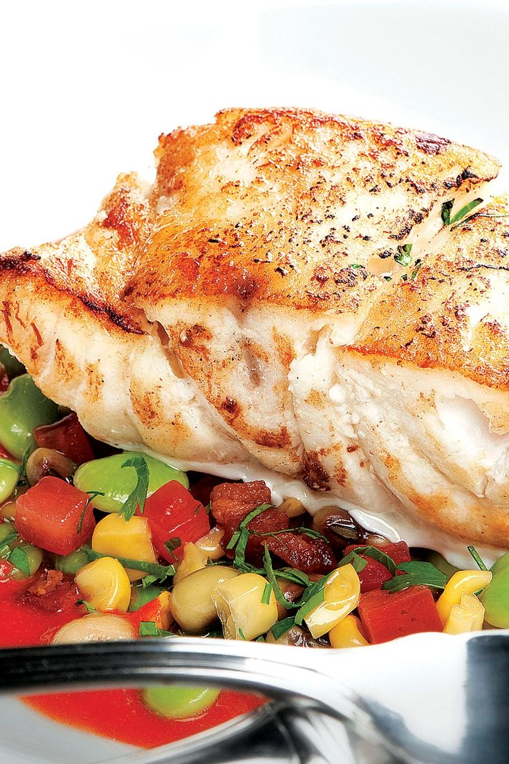 Grouper with Succotash and Tomato Broth