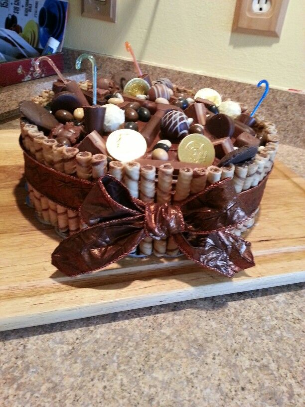 Birthday cake with pirouette and chocolate candies