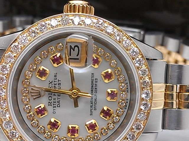 LADIES ROLEX DATEJUST 14K SOLID GOLD /SS DIAMOND BEZEL PEARL RUBY DIAL DATE 7inc #Rolex #LuxuryDressStyles