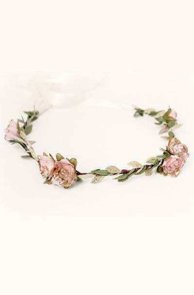 Pink Gold Rose Floral Crown I would paint every second or third leaf alternating gold and copper