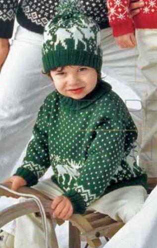 Свитер и шапка с оленями для мальчика, вязаные спицами