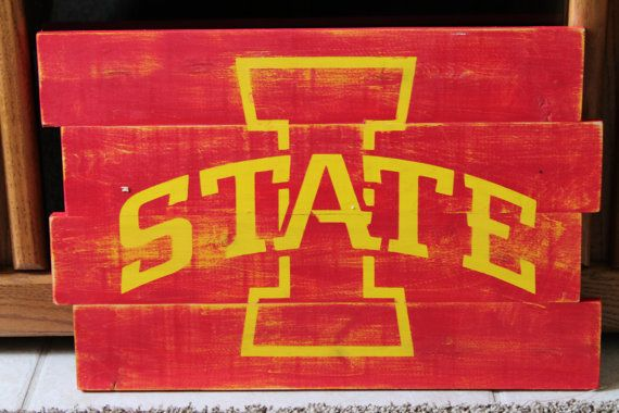 Iowa State University Cyclones Distressed Wood Sign