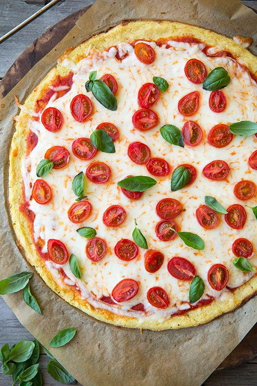 Cauliflower Pizza Crust (low carb and GF) - very good and much quicker than a traditional pizza crust (no kneading and rise!)