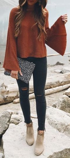 #Winter #Outfits / Bell Sleeve Sweater + Beige Booties