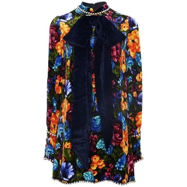 Gucci Black Multi Floral Dress found on Polyvore featuring dresses, multi, floral design dresses, multi-color dress, flower printed dress, multi colored dress and colorful dresses