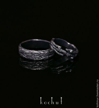 Необычные, авторские обручальные кольца из серебра, черного золота, белого золота, желтого золота
