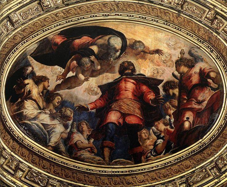 25- L'apothéose de Saint Roch.- § JACOPO R. TINTORETTO - 56 COMPOSITIONS POUR LA DECORATION DE LA SCUOLA GRANDE DE SAN ROCCO A VENISE, 1564 à 1587, DONT: +Salle de l'Albergo: §St-Roch en gloire, 1564, huile de 90 X 121 cm, plafond.- *La crucifixion 1565, toile 536 X 1224 cm, salle de l'Albergo.-*Le Christ devant Pilate, toile 515 X 380 cm, salle de l'Albergo.