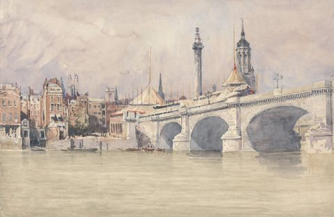 David Cox, 1783–1859, British, The Opening of the New London Bridge, 1831, Watercolor over graphite on medium slightly textured cream wove paper, Yale Center for British Art, Paul Mellon Collection