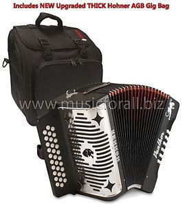 NEW Hohner Panther GCF (Sol en Español) Diatonic Button Accordion, with NEW and THICK Hohner AGB Deluxe Gig Bag, Straps, Instructional Booklet - FREE Ship to Continental USA - USA buyers may call us to pay with Credit Card - International buyers make immediate payment by Paypal - www.paypal.com for details! http://stores.ebay.com/music-for-all-03   http://www.musicforall.biz/