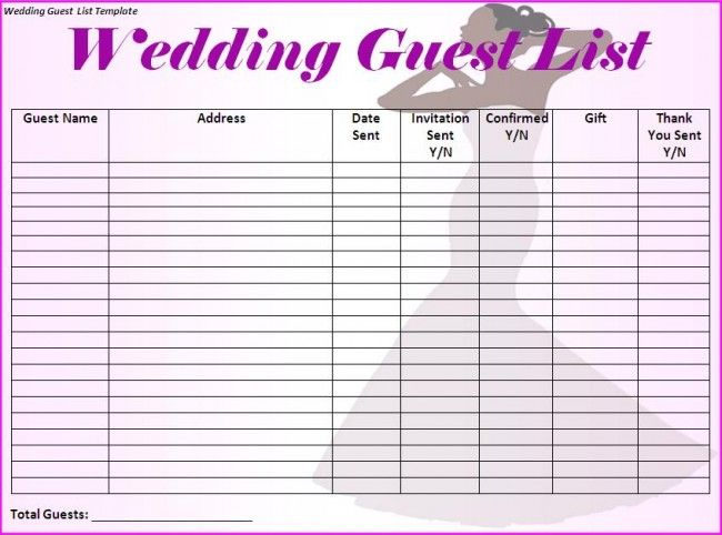 Wedding Guest List Template- I would make just a few more categories like phone number and email address