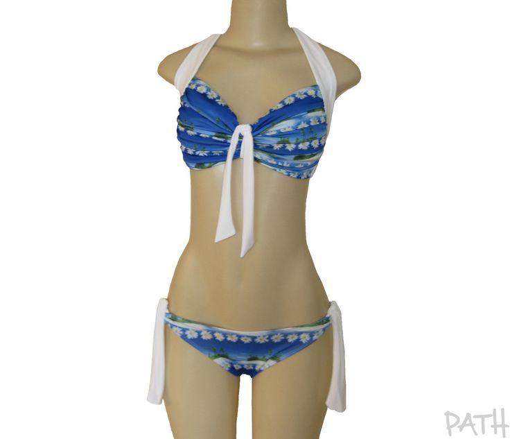 """Bikini """"PalmTree"""", maillot de bain deux pièces, costume de bain, bikini imprimé bleu et blanc. de la boutique atelierPATH sur Etsy"""