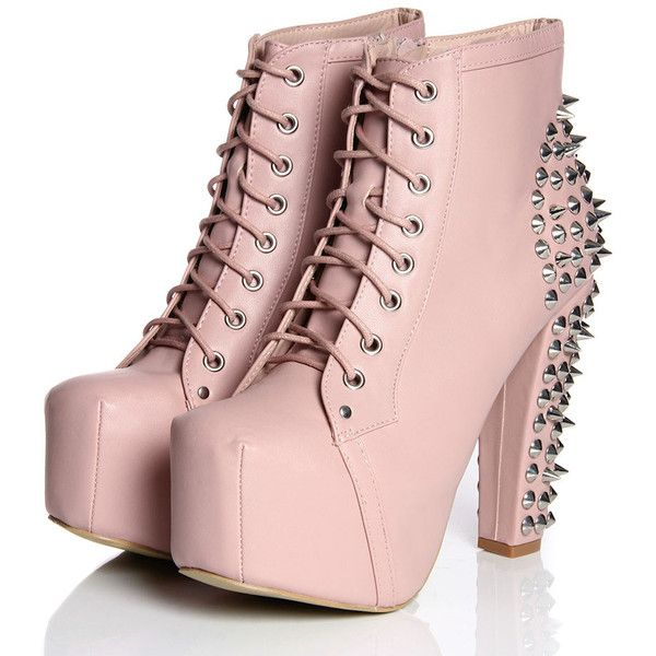 Cassandra Pink Studded Platform Shoe Boots ($60) ❤ liked on Polyvore featuring shoes, boots, ankle booties, heels, platform booties, heeled ankle booties, goth platform boots, laced up boots and lace up heeled boots