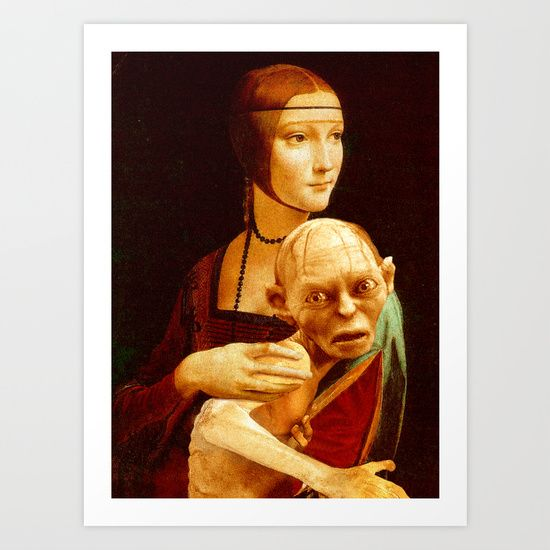 """I honestly enjoyed to work on this """"Lady With Gollum"""". The face of the Lady gets a whole new dimension while holding the sneaky Smeagol. She's like: """"What the hell am I doing with this slimy, stinky creature on my lap?"""" On the other side, Gollum doesn't look too much bothered about the ring, but he has the typical face expression of a baby Jesus. If you are a fan of Lord of the Rings and want to add a new cool t-shirt in your collection, here is a perfect one."""