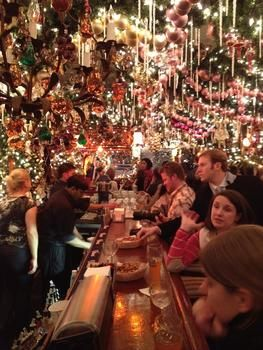 Rolf's Bar & Restaurant NYC,NY  dripping from the celing with Christmas decorations!