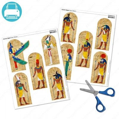 Printable paper shapes of ancient egyptian gods and goddesses, Osiris, Isis, Anubis, Horus, Amun Ra, Hathor, Thoth, Sobek, Seth, and Ra.