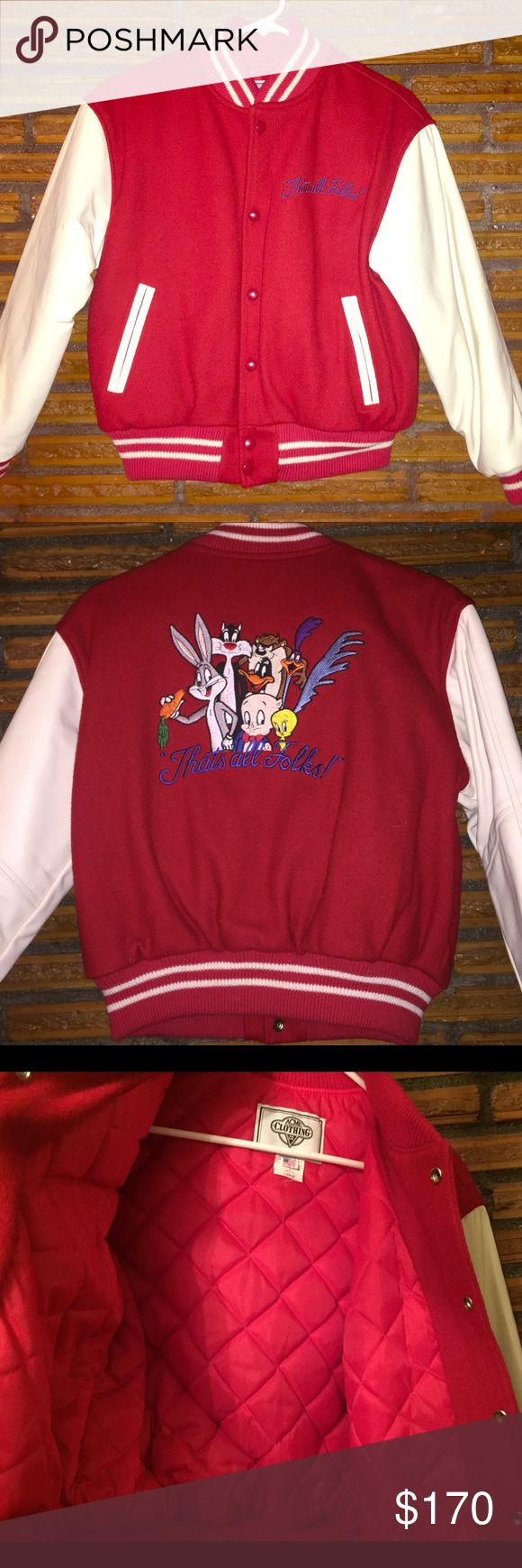 💔 RARE 💔 Looney Tunes leather letterman jacket L This is an extremely rare authentic Looney Tunes jacket from the 60's/ 70's. I guarantee you won't find another remotely close! This bad boy was in air tight bag for 40+ years. It is in pristine condition. It's a youth large, which equates to a youth 10/12. There are no cracks in the leather, it is cream colored and gorgeous! The red fabric is a wool blend, and the tag says MADE IN USA. This is most definitely one of a kind. If you have any…