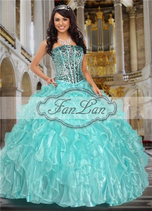 New arrival 2013 cheap strapless two piece ruffles sequins quinceanera