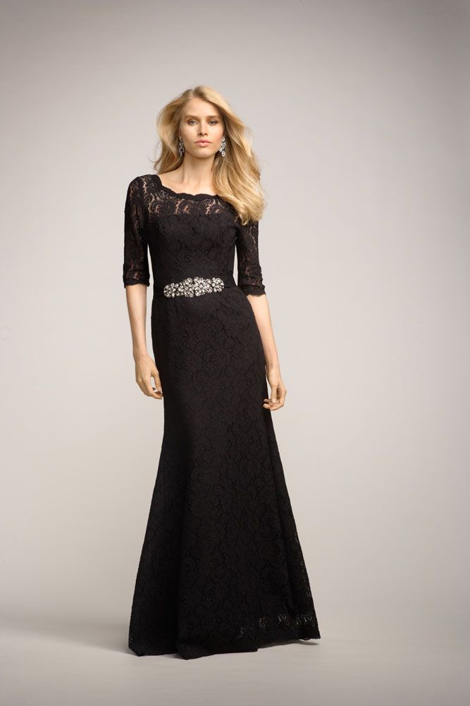 lace elbow sleeve modest bridesmaids dress by Watters & Watters