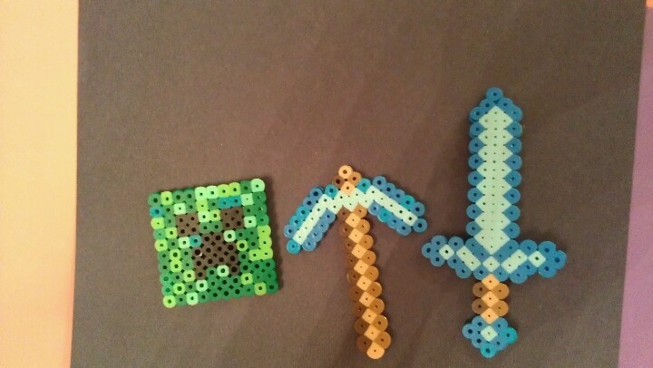 Perler Bead Diamond Sword And Pick Axe  Creeper