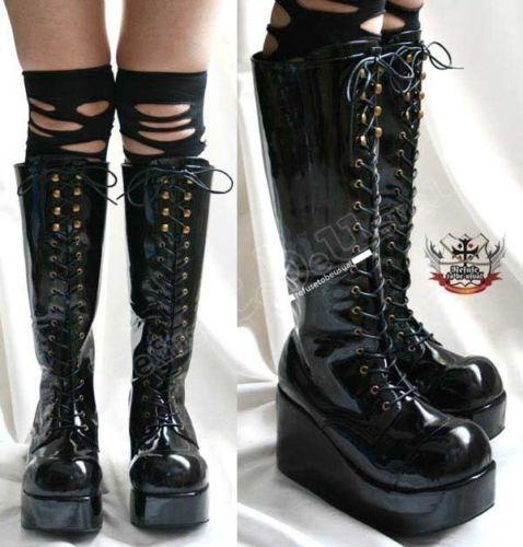 Goth-PATENT-PVC-CORSET-Platform-Knee-Hi-Boot-Black