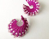 Macrame Style Knotted Braided Spiral Earrings in Purple Colour with Pearls