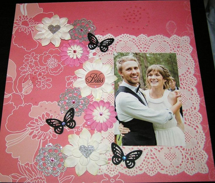 """SCRAPBOOK PAGE HANDMADE 12 X 12....""""BLISS""""...reduced to $9.99"""