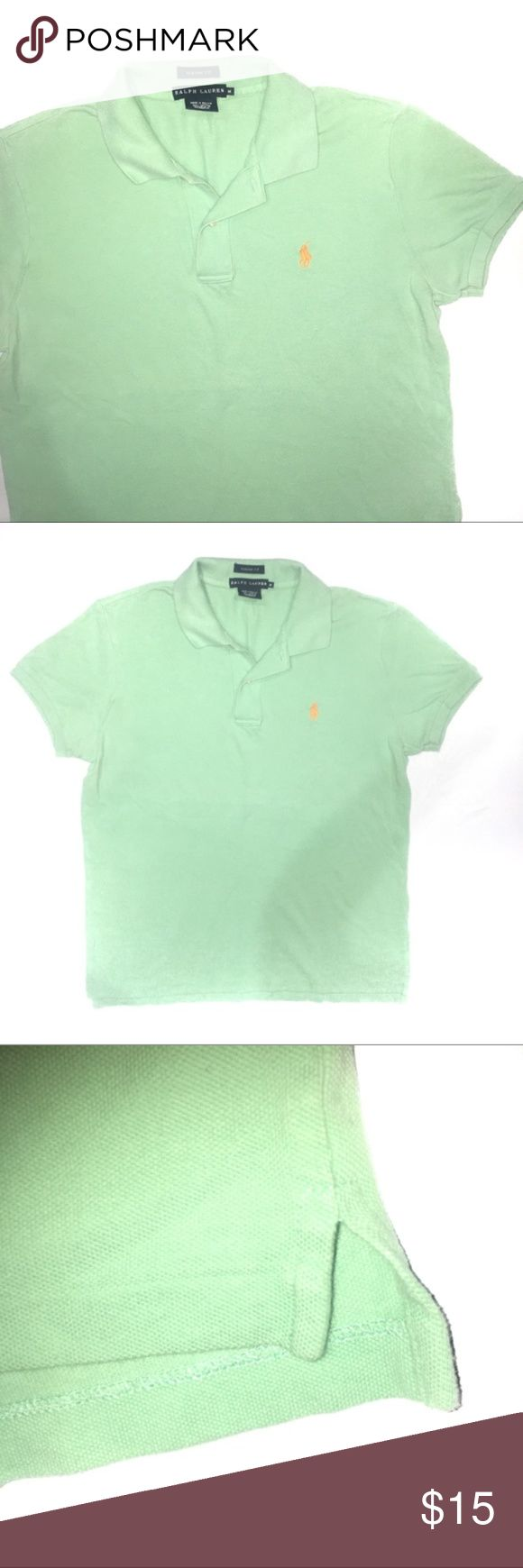 "Ralph Lauren Classic Fit Green Polo Shirt Ralph Lauren classic fit orange polo shirt. Size medium. Green with orange emblem. Has ribbed cuffs and collar. Slits up the sides. Has a tiny hole in it as pictured. 100% cotton. 38"" chest. 25.5"" length. No trades, offers welcomee! Ralph Lauren Black Label Shirts Polos"