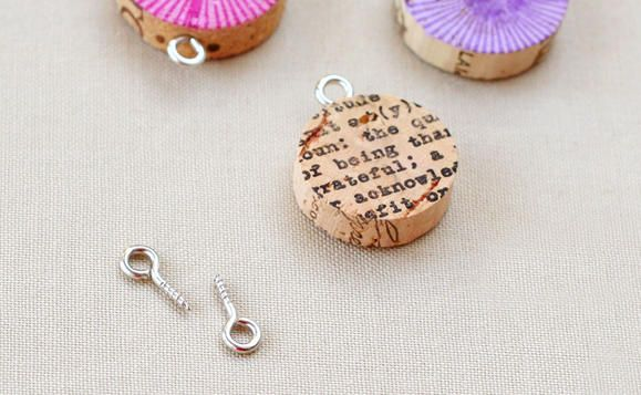 insert screws into wine cork pendants