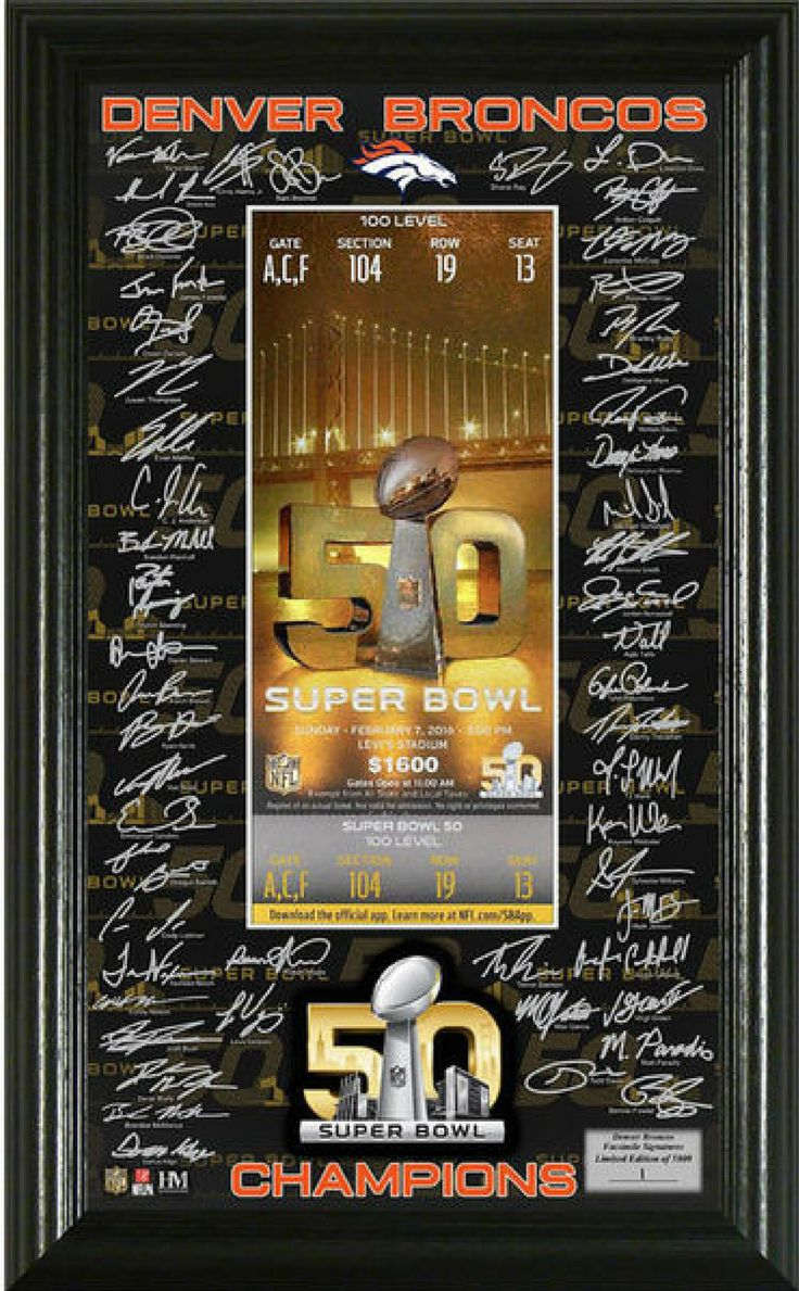 """Wow love this Denver Broncos Highland Mint Super Bowl 50 Champions Signature Ticket! NNT #Afflink #broncos #football #denver #gift #giftideas #DenverBroncos #signature #coloradolife #christmasgifts #christmasgiftsideas #superbowl #champions #GIFTIDEA #birthdaygifts denver broncos football   Denver Broncos Fan HQ   Denver Broncos Fans   Denver Broncos   Denver Bronco's -"""" Our Team """"  """