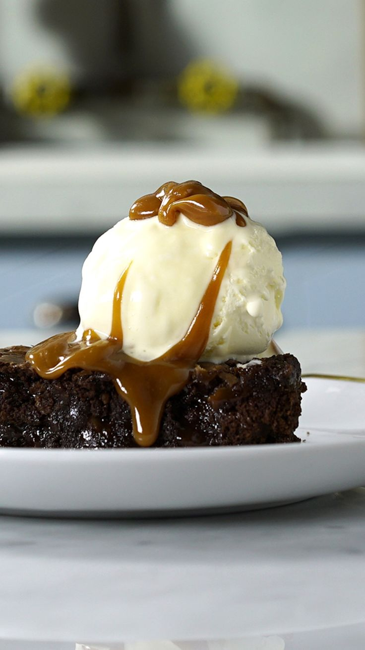 Topped with ice cream and salted caramel, this chocolate treat is irresistible.