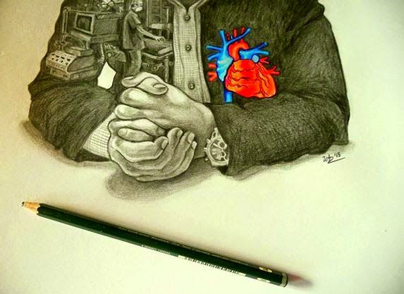 "tool resting on "" the pediatric-heart-surgeon's heart "" ( pencil and markers on paper )"