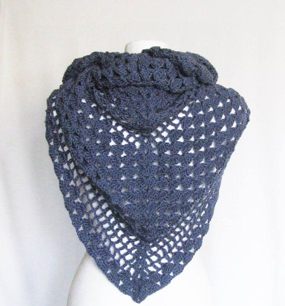 crocheted jeans blue triangular shawl very soft by delectare