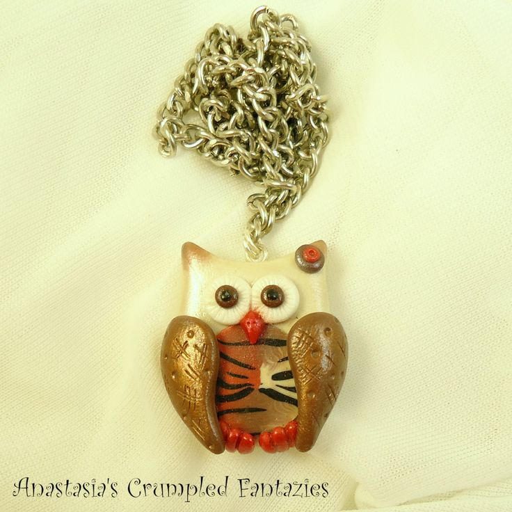 Brown beige polymer clay owl necklace,  Fimo cute forest creature bird pendant, Cernit feather wing, Cartoon colorful kawaii critter fashion by CrumpledFantazies on Etsy