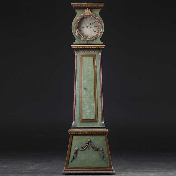 Danish Green Painted Pine Grandfather Clock 19th Century