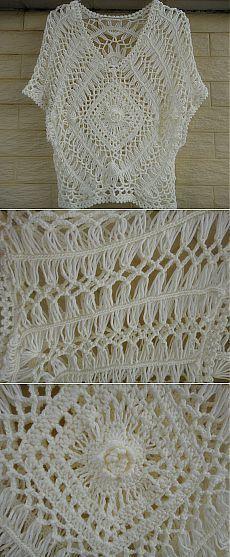 hairpin crochet women boho top lace blouse от Tinacrochetstudio
