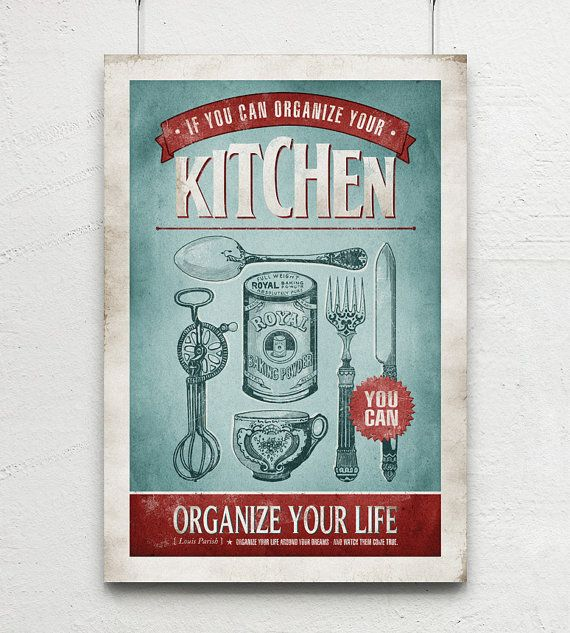 Vintage Wall Art For The Kitchen : Retro kitchen art vintage cutlery quote print blue