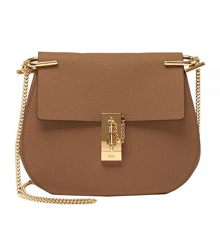 Chloé Drew Small Leather Shoulder Bag, Nude