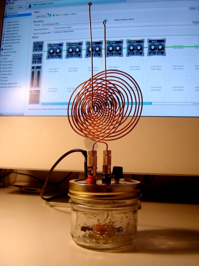 """Tesla's Spirit Radio uses a simple crystal radio circuit connected to a computer sound-in jack to generate spooky sounds from all kinds of electromagnetic sources. As you will see, it creeped the hell out of Tesla himself. """"My first observations positively terrified me as there was present in"""