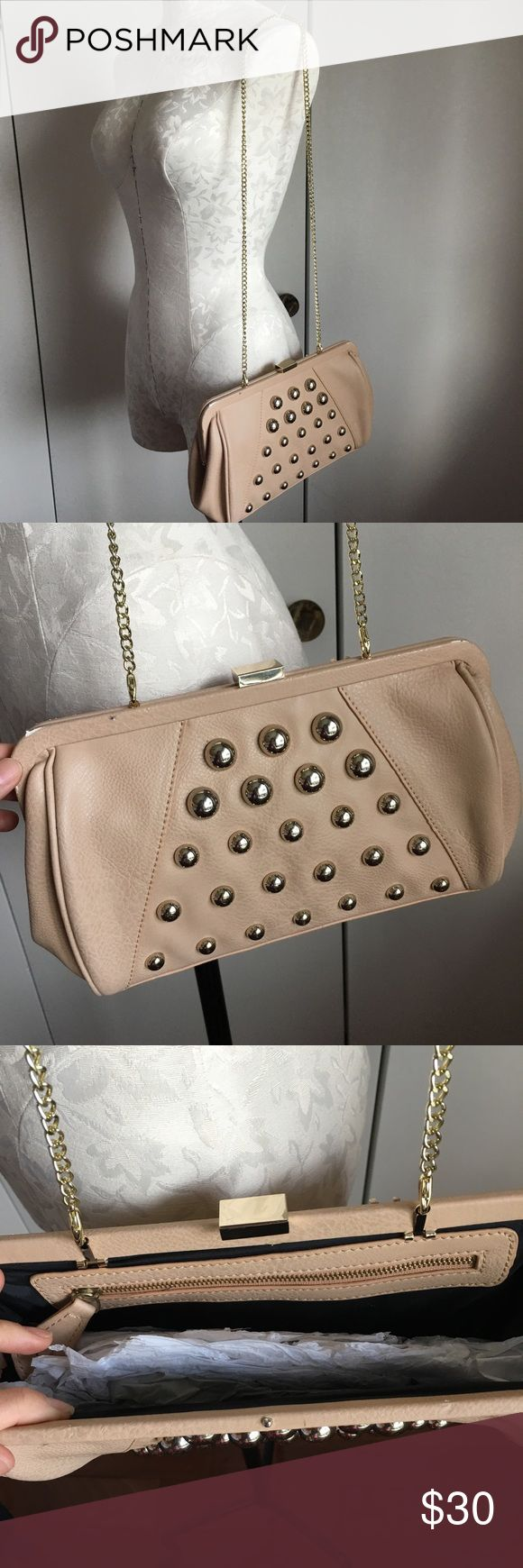 Nude/ beige studded clutch/ shoulder chain bag Brand new with tags! Kardashian Kollection Bags Crossbody Bags