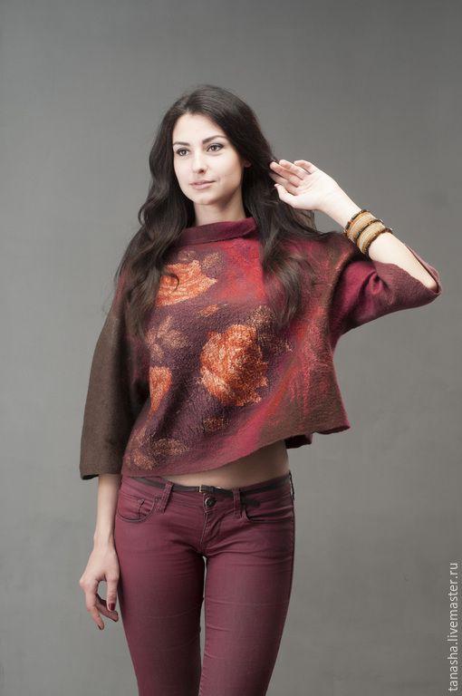 """Купить Валяный свитер """"Полуденные розы"""" - свитер, валяный свитер, свитшот, свитер валяный, одежда"""