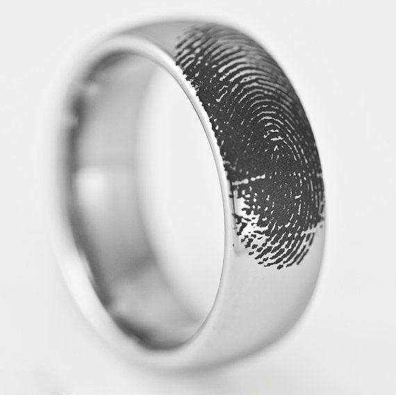 Mens 8MM Wide Tungsten Wedding Ring Engraved Fingerprint Promise Band Domed Available in Whole and Half Size 7-15 on Etsy, $99.99