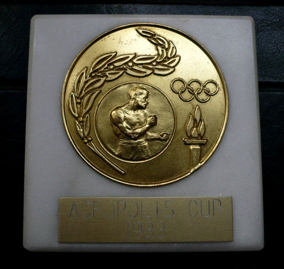 Vintage medal souvenir Acropolis cup 1988 by bluestyle on Etsy