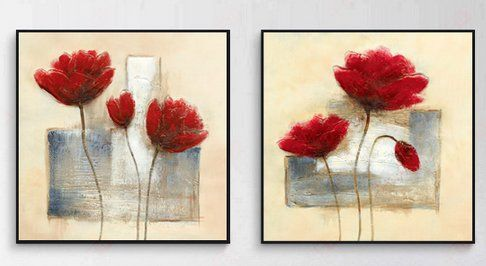 Wieco Art - Charming Spring - Black Framed Modern Canvas Prints Canvas Wall Art for Wall Decor, 4 Panels Abstract Floral Oil Paintings Style Canvas Picture Photo Print on Canvas Art Home Decoration 12 by 12inch by 2pcs/set Wieco Art http://www.amazon.com/dp/B00OVWMZKG/ref=cm_sw_r_pi_dp_Yqggvb1RCN2XG