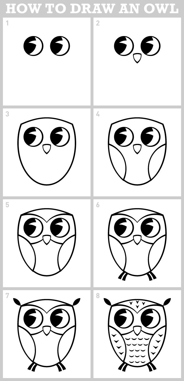 owl - how to draw Got to remember this when my munchkins tell me to draw an owl…